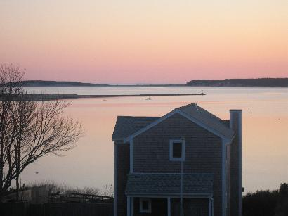 Wellfleet Harbor, Great Island, and Cape Cod Bay picture taken from second floor deck